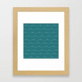 Seattle Skyline // Teal Framed Art Print