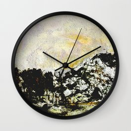 Golden mountains Wall Clock