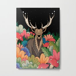 Night garden Deer Metal Print