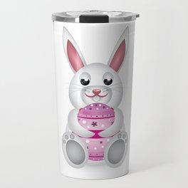 Easter bunny with pink egg Travel Mug