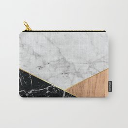 Geometric White Marble - Black Granite & Wood #711 Carry-All Pouch