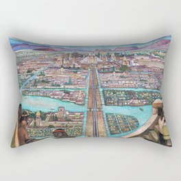 Mural of the Aztec city of Tenochtitlan by Diego Rivera Rectangular Pillow
