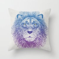 kitty Throw Pillows featuring Face of a Lion by Rachel Caldwell