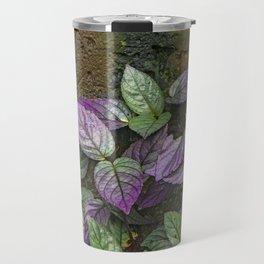 Purple and Green Leaves on Multi-Colored Bark Travel Mug