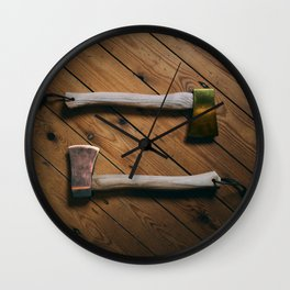 Gold and Copper Axes Wall Clock
