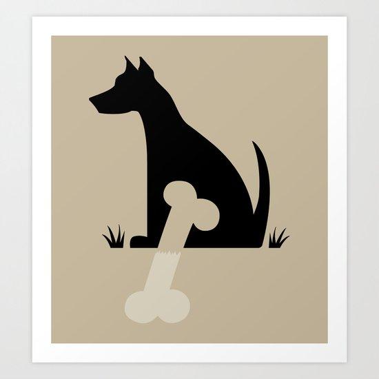 Gave a Dog a Bone (Tan) Art Print