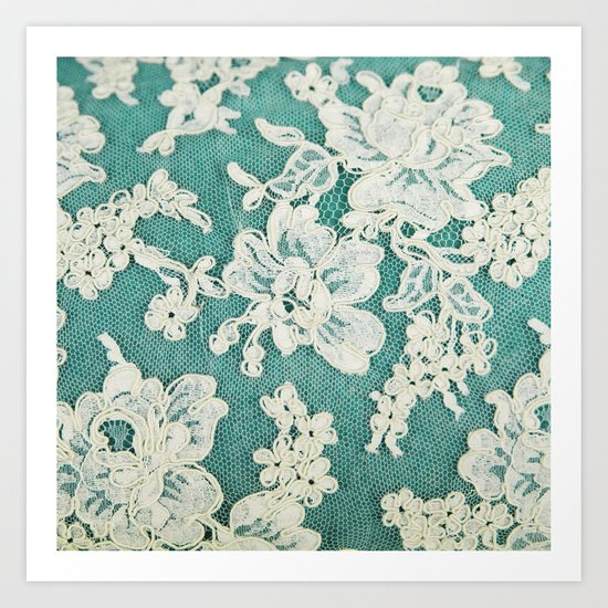 white lace - photo of vintage white lace Art Print