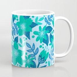 Star Flower Floral in Blue Coffee Mug