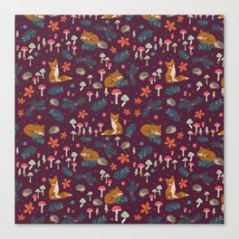 Fox and Hedgehog in Toadstool Wood In Red Canvas Print