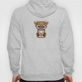 Cute Baby Leopard Cub Wearing Glasses on Teal Blue Hoody