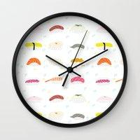sushi Wall Clocks featuring Sushi by Alysha Dawn