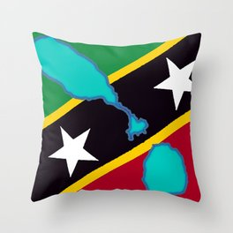 St. Kitts and Nevis Flag with Island Maps Throw Pillow
