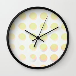 An abstract array of dots in bright cheerful whites and colors Wall Clock