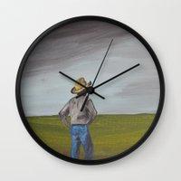 cowboy Wall Clocks featuring Cowboy by gcooney14
