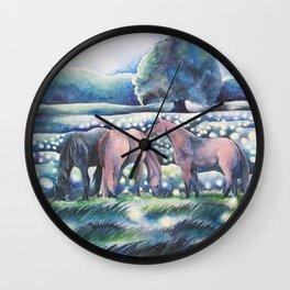 Moonlit Summer Night Horses And Fireflies Wall Clock