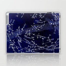 French December Star Map in Deep Navy & Black, Astronomy, Constellation, Celestial Laptop & iPad Skin