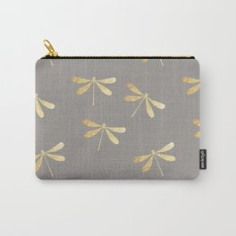 dragonfly pattern: gold & grey Carry-All Pouch