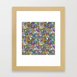 Halloween stars get crazy and hungry in a spooky pattern design Framed Art Print