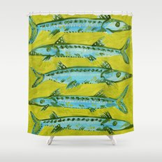 Barracuda on Yellow Shower Curtain