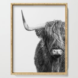 Highland Cow Portrait - Black and White Serving Tray