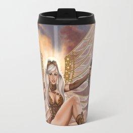 Steampunk Winged Pigtailed Heroine Travel Mug