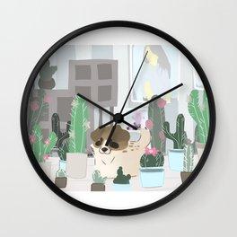Puppy in the garden illustration Wall Clock