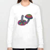 mushrooms Long Sleeve T-shirts featuring Mushrooms by Luna Portnoi