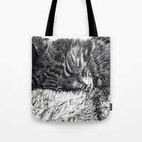 charlie Tote Bags featuring Charlie by Lucy Schmidt Art