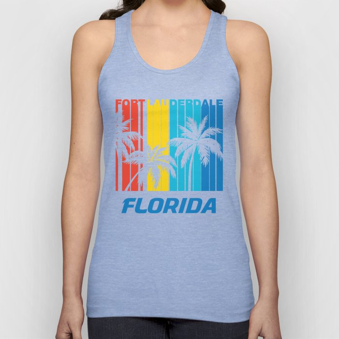 Retro Fort Lauderdale Florida Palm Trees Vacation Unisex Tank Top