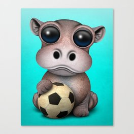 Cute Baby Hippo With Football Soccer Ball Canvas Print