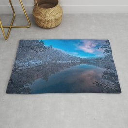 Finland winter snowy forest finnish nature Lapland Europe beautiful nature Rug
