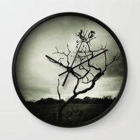 alone Wall Clocks featuring ALONE by Christina Lynn Williams
