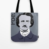 poe Tote Bags featuring Poe. by Tara Durrant Designs