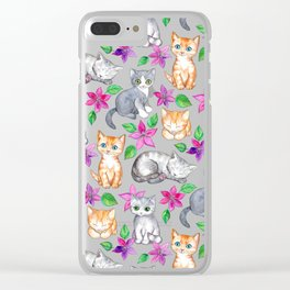 Kittens and Clematis - blue Clear iPhone Case