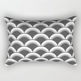 Japanese Fan Pattern 124 Charcoal Gray Rectangular Pillow