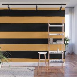 VA Bright Marigold - Spring Squash - Pure Joy - Just Ducky Hand Drawn Fat Horizontal Lines on Black Wall Mural