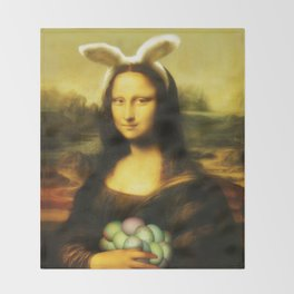 Easter Mona Lisa with Bunny Ears and Colored Eggs Throw Blanket