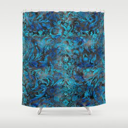 Blue and Black Watercolor Floral Damask Shower Curtain