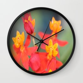 Succulent Red and Yellow Flower Wall Clock