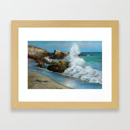 Rocks and Surf Framed Art Print