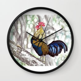 Red Junglefowl (Original Available for sale) Wall Clock