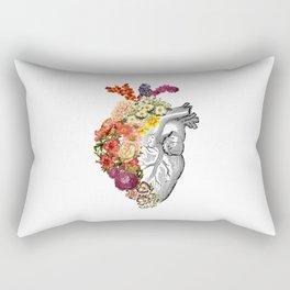 Flower Heart Spring White Rectangular Pillow