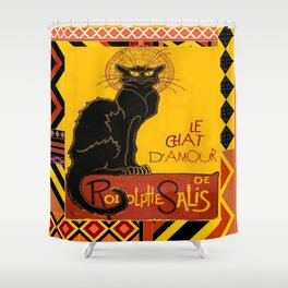 Le Chat Noir D'Amour With Ethnic Border Shower Curtain
