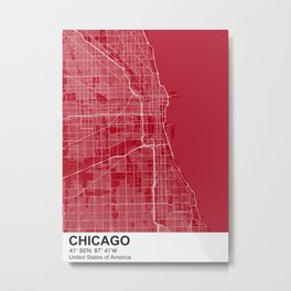 chicago city map color Metal Print