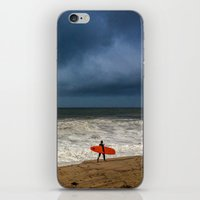 surfboard iPhone & iPod Skins featuring Orange Surfboard by PACIFIC OBLIVION