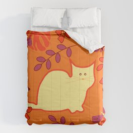 Curious cat, butterflies and leaves Comforters