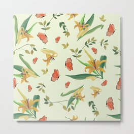 Lilies and Butterflies on Cream, Pattern and Design, Metal Print
