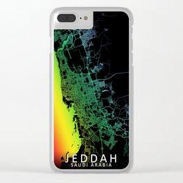 Jeddah, Saudi Arabia, City, Map, Rainbow, Map, Art, Print Clear iPhone Case