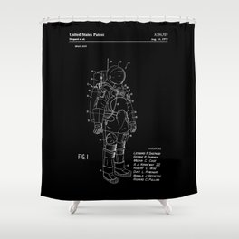 NASA Space Suit Patent - White on Black Shower Curtain