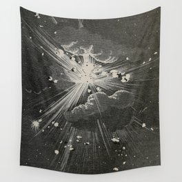 From the Earth to the Moon Black & White Space Explosion Ink Art 1874 Wall Tapestry